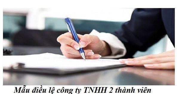 Mẫu điều lệ công ty TNHH 2 (hai) thành viên trở lên