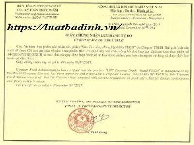 Mẫu giấy chứng nhận ưu hành tự do CFS
