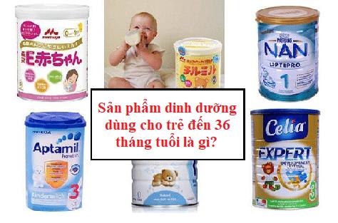Sản phẩm dinh dưỡng dùng cho trẻ đến 36 tháng tuổi là gì?