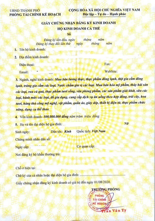 Mẫu giấy phép kinh doanh hộ cá thể